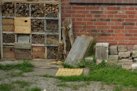 Insektenhotel und Steinmauer, Foto: Andreas Schönefeld